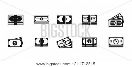 Dollar icon set. Simple set of dollar vector icons for web design isolated on white background