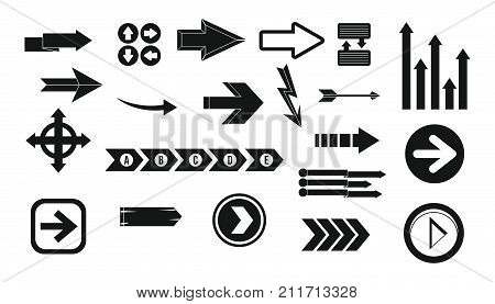 Arrow icon set. Simple set of arrow vector icons for web design isolated on white background