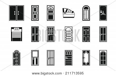 Door icon set. Simple set of door vector icons for web design isolated on white background