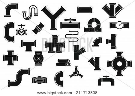 Pipe icon set. Simple set of pipe vector icons for web design isolated on white background