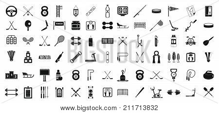 Sport equipment icon set. Simple set of sport equipment vector icons for web design isolated on white background