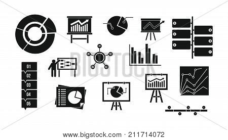 Diagram icon set. Simple set of diagram vector icons for web design isolated on white background