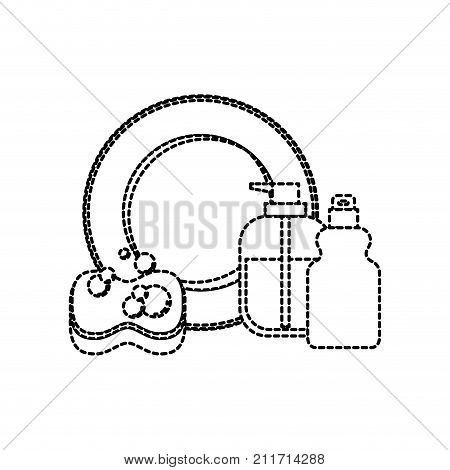 dish and sponge and dishwasher soap in monochrome dotted silhouette vector illustration