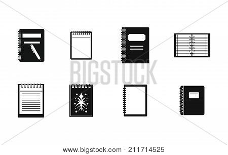 Notebook icon set. Simple set of notebook vector icons for web design isolated on white background