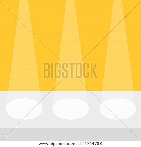 Stage podium table desk stand illuminated by three spotlights. Empty pedestal for display. 3d realistic Platform for design. Isolated. Yellow background. Template. Flat design Vector illustration