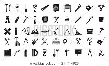 Construction tools icon set. Simple set of construction tools vector icons for web design isolated on white background