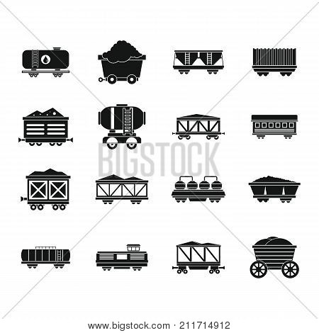 Railway carriage icon set. Simple set of railway carriage vector icons for web design isolated on white background
