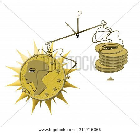 Permanent make-up discount in make-up.A cup of scales with one gold coin depicting a woman with a beautiful permanent make-up outweighs a pile of small metal coins with normal make-up. Cost quality price. Raster graphics isolated on white background