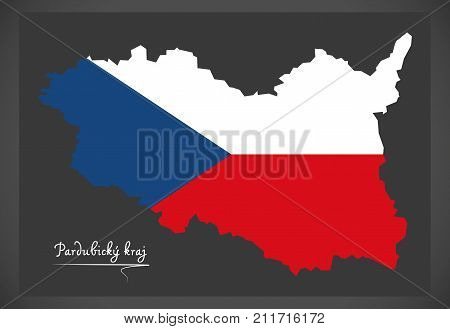 Pardubicky Kraj Map Of The Czech Republic With National Flag Illustration