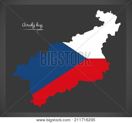 Ustecky Kraj Map Of The Czech Republic With National Flag Illustration