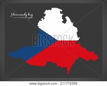 Jihomoravsky Kraj Map Of The Czech Republic With National Flag Illustration