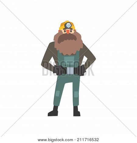 Bearded miner in yellow hard hat standing with arms akimbo isolated on white. Dressed in working overall, jacket and gloves. Professional at work. Cartoon male worker character. Flat vector.