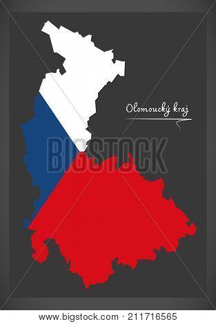 Olomoucky Kraj Map Of The Czech Republic With National Flag Illustration