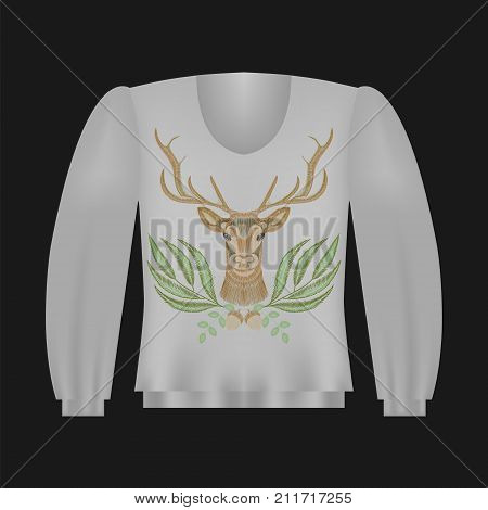 Sweatshirt template with deer, floral embroidery, fashion embroidered patch. Vintage design elements.