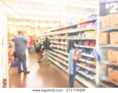 Blurred Image Customers Stock Up Candy At Grocery Stores In America