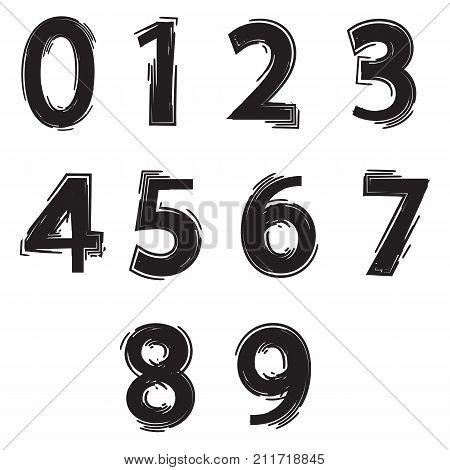 illustration with set of numbers on white background