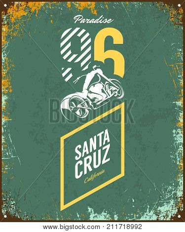 Vintage motorcycle vector logo isolated on dark background. Premium quality biker gang logotype tee-shirt emblem illustration. Santa Cruz, California street wear superior retro tee print design.