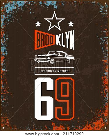 Vintage luxury vehicle vector logo isolated on dark background. Premium quality classic car logotype tee-shirt emblem illustration. Brooklyn, New York street wear number retro tee print design.