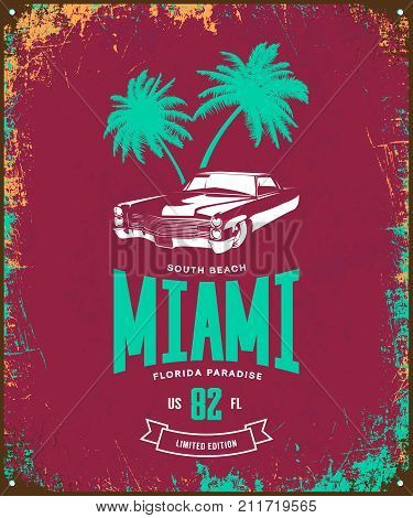 Vintage luxury vehicle vector logo isolated on burgundy background. Premium quality classic car logotype tee-shirt emblem illustration. Miami, Florida street wear superior retro tee print design.