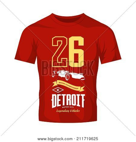 Vintage sport vehicle vector logo isolated on red t-shirt mock up. Premium quality number logotype tee-shirt emblem illustration. Detroit, Michigan street wear superior retro tee print design.
