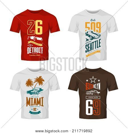 Vintage roadster, classic and sport car isolated vector logo t-shirt mock up set. Premium quality old vehicle logotype tee-shirt emblem illustration. Street wear superior number retro tee print design.