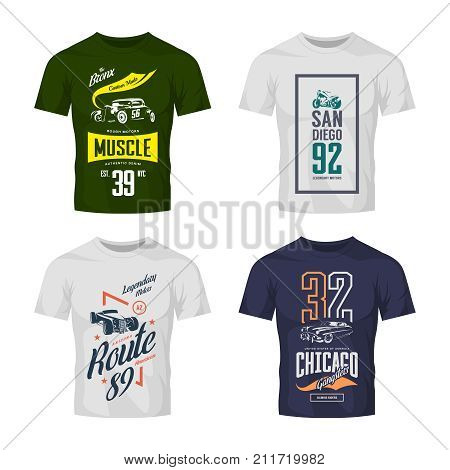Vintage hot rod, classic car and motorcycle vector t-shirt logo mock up set. Premium quality old sport vehicle logotype tee-shirt emblem illustration. Street wear superior retro tee print design.