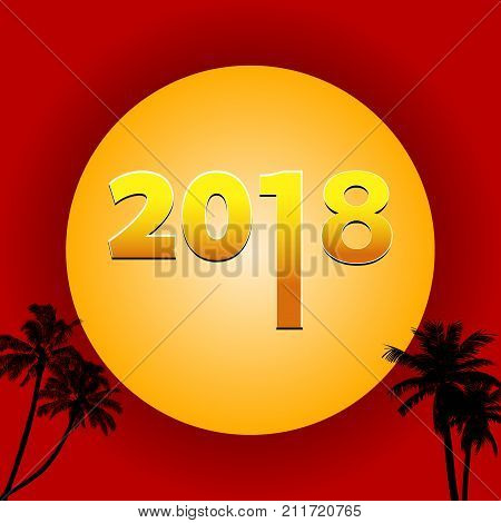 Twenty Eighteenth 2018 Decorative Golden date Over Big Moon on Red Background with Palm Trees