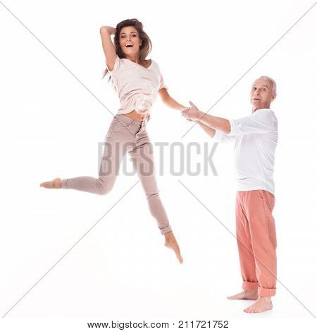 Young Happy Woman And Her Elderly Father