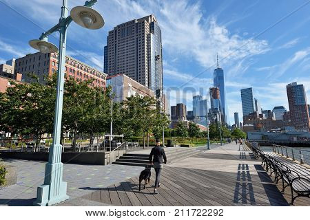 NEW YORK CITY USA - AUG. 23: Hudson River Park on August 23 2017 in New York City NY. Hudson River Park is a waterside park on the North River in New York City.