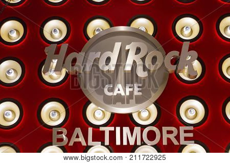 Sign Inside Hard Rock Cafe In Baltimore, Maryland, Usa