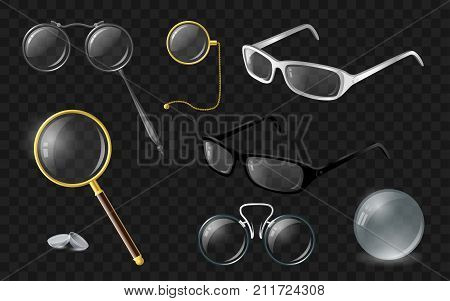 Set of optics - modern vector realistic isolated clip art on transparent background. Stylish spectacles, glasses, lenses, monocle, lorgnette, loupe, pince-nez