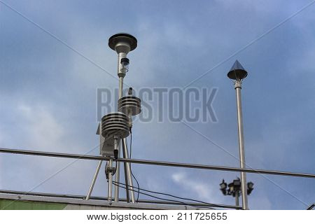 The pollution detector probe with blue sky background