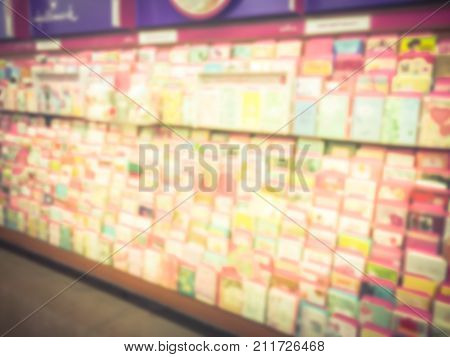 Blurred Greeting Cards Display At A Retail Store In America