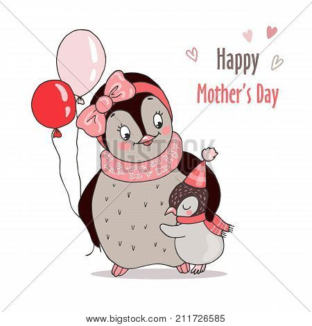 Cute baby penguin hugging his mom. Lovely postcard for Happy mothers day. Vector illustration on white background.