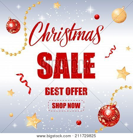 Christmas sale best vector photo free trial bigstock christmas sale best offer shop now lettering christmas greeting card with fir tree twigs in m4hsunfo