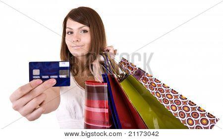 Mädchen mit Tasche und Kreditkarte. Isoliert.