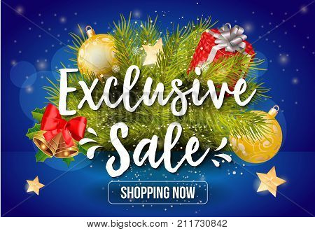 Exclusive Sale Shopping Now lettering with Christmas balls and fir tree twig. Handwritten and typed text, calligraphy. For posters, banners, leaflets and brochures.