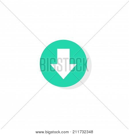 Download button vector, round or circle shaped green downloading button with arrow down icon