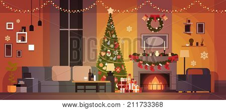 Living Room Decorated For Christmas And New Year With Fir Tree , Fireplace And Garlands Holidays Home Interior Flat Vector Illustration