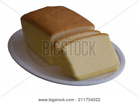 White isolated background with clipping paths slices of butter cake on white plate. Homemade plain butter or pound cake cake so delicious smooth soft and moist. Homemade bakery concept with copy space. Classic butter cake sliced on plate.