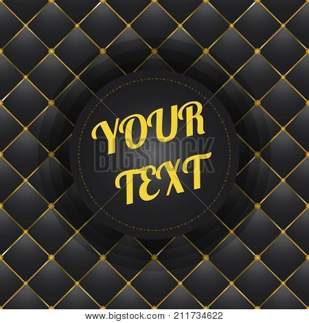 button tufted black leather background with text box