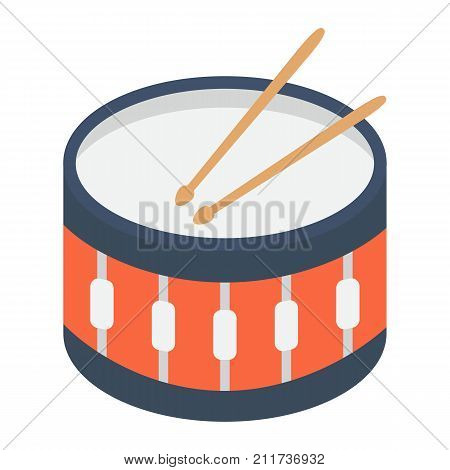 Snare Drum flat icon, music and instrument, beat sign vector graphics, a colorful solid pattern on a white background, eps 10.