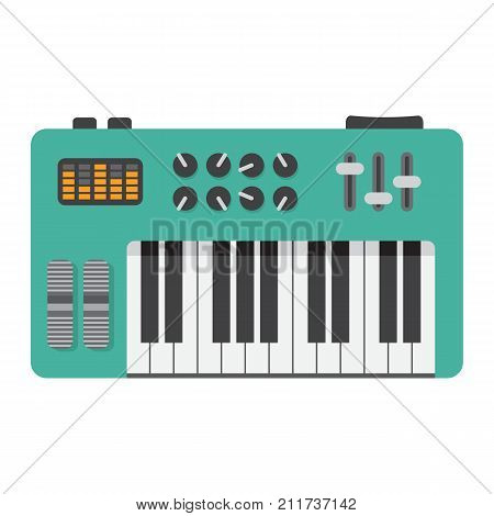 Analog synthesizer flat icon, music and instrument, piano sign vector graphics, a colorful solid pattern on a white background, eps 10.