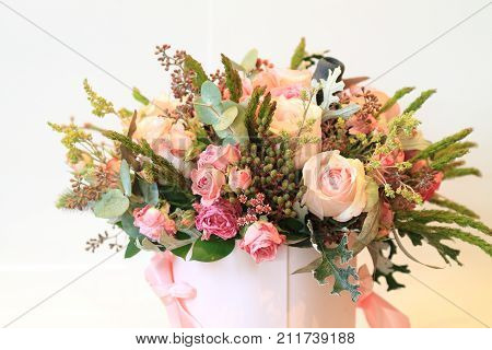 Solemn Bouquet Of Flowers For Beautiful Ladies, Bunch Of Roses