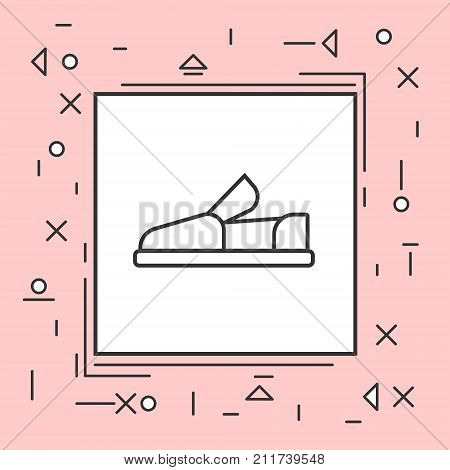 Moccasin Shoes Icon Thin Line In Pink Frame Vector Illustration