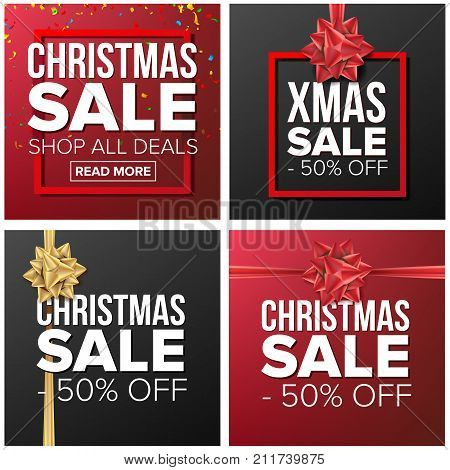 Christmas Sale Banner Set Vector. Cartoon Business Brochure Illustration. December Mega Sale Design Concept. Template Design For Holidays Xmas Sale Brochure, Poster