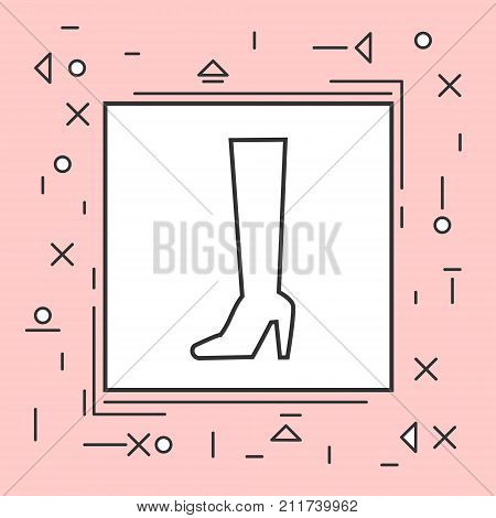 High Boots Icon Thin Line In Pink Frame Vector Illustration