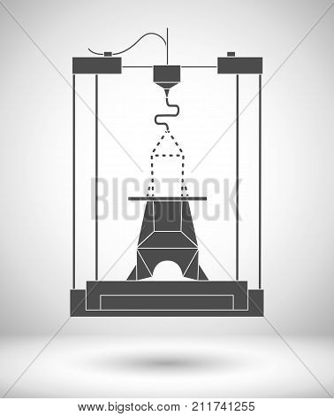 3D modeling and scanning technology printing icon, vector illustration