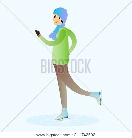 Male character is skating on ice. Sportsman isolated on a blue background.