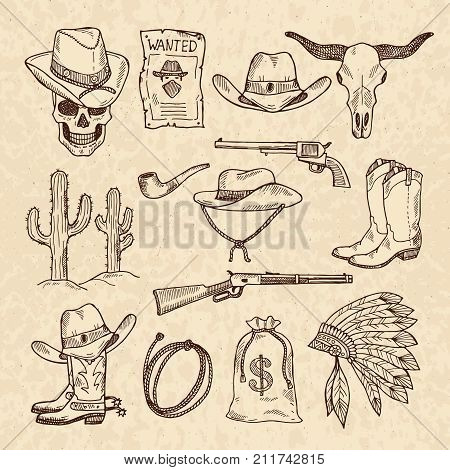 Western symbols. Cowboy, guns, saloon and other wild west pictures set. Vector hand drawn pictures. Wild west concept, gun revolver and skull, cactus and sack of money illustration